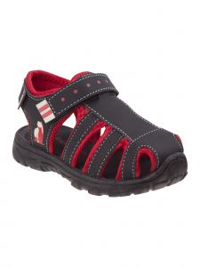 Rugged Bear Boys Black Red Caged Hook-And-Loop Strap Sandals 11-4 Kids