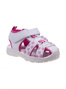 Rugged Bear Girls White Fuchsia Small Flower Closed Toe Active Sandals 3 Kids