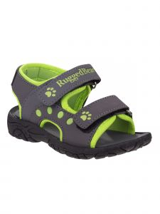 Rugged Bear Little Boys Grey Lime Paw Print Double Strap Sandals 5-10 Toddler