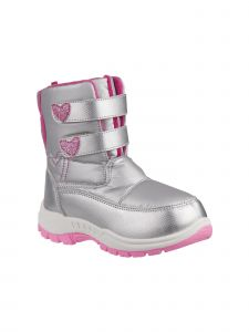 Rugged Bear Girls Grey Pink Hearts Double Strap Snow Boots 6 Toddler-4 Kids
