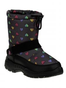 Rugged Bear Girls Black Rainbow Hearts Hook And Loop Strap Snow Boots 12-4 Kids