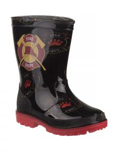 Rugged Bear Boys Black Red Paw Fire Department Rain Boots 7 Toddler-12 Kids