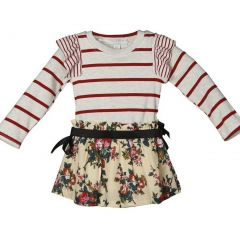 Richie House Girls Dress With Striped Top & Flowered Skirt 1-8