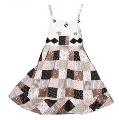 Richie House Little Girls Black Quilt-Style Dress 3-6