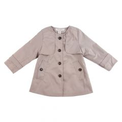 Richie House Little Girls Beige Cropped Trench Coat-Style Coat 3-6