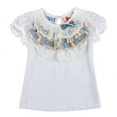 Richie House Little Girls White Lace Bow Accented Shirt 2