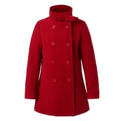 Richie House Little Girls Dark Red Double-Breasted Stand Collar Jacket 3-6