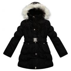 Richie House Girls Padded Winter Jacket With Belt And Faux Fur Hood 8-14
