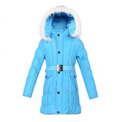 Richie House Girls Padded Winter Jacket With Belt And Faux Fur Hood 7-14