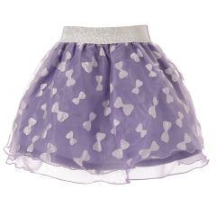 Richie House Little Girls Lavender Bow Print Silver Accent Tulle Skirt 2-3