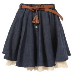 Richie House Little Girls Navy Ivory Lace Hem Pearl Accented Belted Skirt 2-6