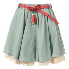 Richie House Little Girls Teal Ivory Lace Hem Pearl Accented Belted Skirt 2-6