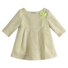 Richie House Little Girls Green Bow Accent Dotted Dress 2-6