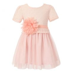 Richie House Little Girls Pink Lace Top Flower Special Occasion Dress 2-6