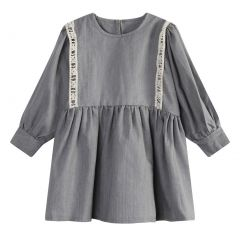 Richie House Little Girls Grey White Lace Retro Dress 3