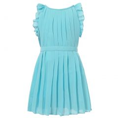 Richie House Little Girls Blue Belt Pleated Special Occasion Dress 3-6