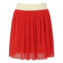 Richie House Little Girls Red Woven Lace Jacquard Waistband Flared Skirt 2-6