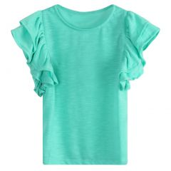 Richie House Little Girls Turquoise Cotton Knit Ruffle Sleeved T-Shirt 2-6