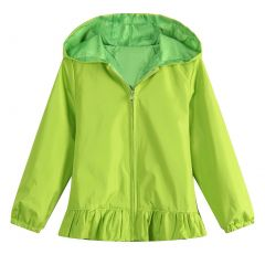 Richie House Little Girls Lime Green Solid Color Zipper Coat 5