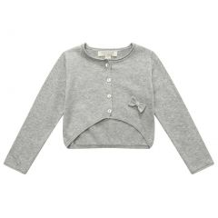 Richie House Little Girls Grey Small Bow Cardigan 2-7
