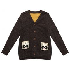 Richie House Little Boys Black Rabbit Pockets Cardigan Sweater 1-6