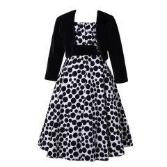 Richie House Girls Long Style Polka Dot Dress With Cape 3-12