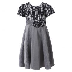 Richie House Little Girls Grey Pintuck Dotted Bow Polished Dress 3-6