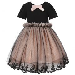Richie House Little Girls Pink Black Bow Accent Embroidered Mesh Dress 3-6