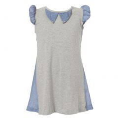Richie House Little Girls Grey Blue Special Rounded Sleeve Knit Dress 2-6