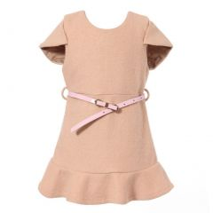 Richie House Big Girls Beige Girl Short-Sleeve Dress Faux Leather Belt 2-8