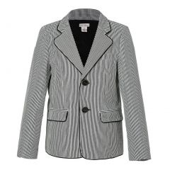 Richie House Little Boys Light Grey Leisure Striped Suit Style Blazer 2-7