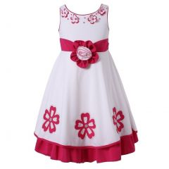 Richie House Little Girls Fuchsia White Floral Embellished Occasion Dress 2-6