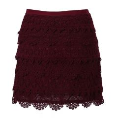 Richie House Little Girls Burgundy Multi-Layered Lace Dress 3-5