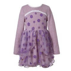 Richie House Little Girls Lavender Sweet Long Sleeve Dress Flowers 2-4