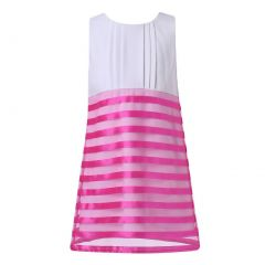 Richie House Big Girls White Summer Sundress Striped Organza 1-10