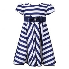 Richie House Little Girls Navy Striped Party Dress 3-6