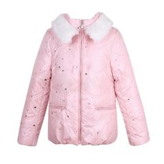 Richie House Big Girls Pink Winter Padding Jacket Faux Fur Collar 7-12