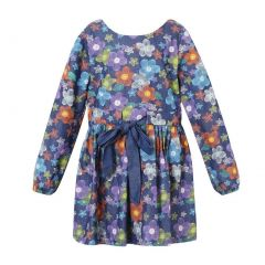 Richie House Girls Purple Long Sleeve All-patterned Dress 2-6