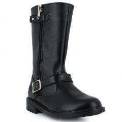 Rilo Girls Black Ankle Strap Silver Buckle Side Zip Leather Boots 11-1.5 Kids