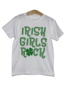 "Little Girls White Green ""Irish Girls Rock"" Shamrock Cotton T-Shirt 2T-5"