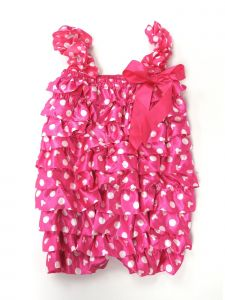 Wenchoice Little Girls Hot Pink Minnie White Dot Bow Detail Satin Romper 3T