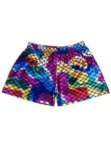 Wenchoice Girls Multi Rainbow Mermaid Scale Dance Gymnastic Swim Shorts 9M-8