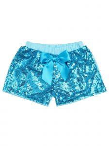 Wenchoice Girls Blue Stretchy Waist Sequin Bow Adorned Shorts 9M-8