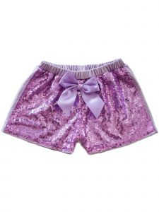 Wenchoice Girls Lavender Stretchy Waist Sequin Bow Adorned Shorts 9M-8