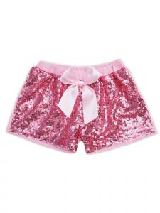 Wenchoice Girls Pink Stretchy Waist Sequin Bow Adorned Shorts 6-8