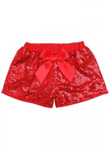 Wenchoice Girls Red Stretchy Waist Sequin Bow Adorned Shorts 9M-8