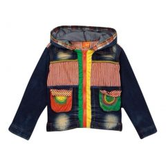 Rock'nStyle Boys Dark Blue Colorful Pockets Hooded Denim Jacket 2-8T
