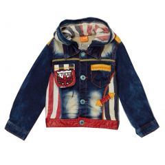 Rock'nStyle Boys Blue Denim Patches Letter Striped Hooded Jacket 2T-8