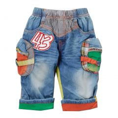 Rock'nStyle Boys Blue Multi Color Patch Folded Cuff Denim Shorts 2T-8