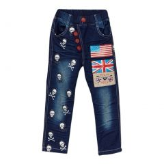 Rock'nStyle Baby Boys Dark Blue American Flag Skull Denim Pants 18-24M